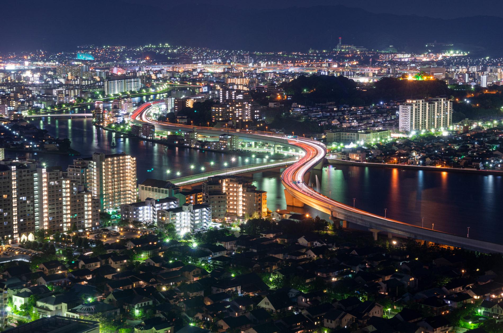 福岡都市高速の夜景
