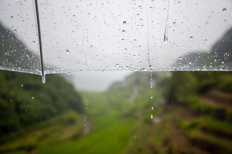 雨の日のビニール傘と雫